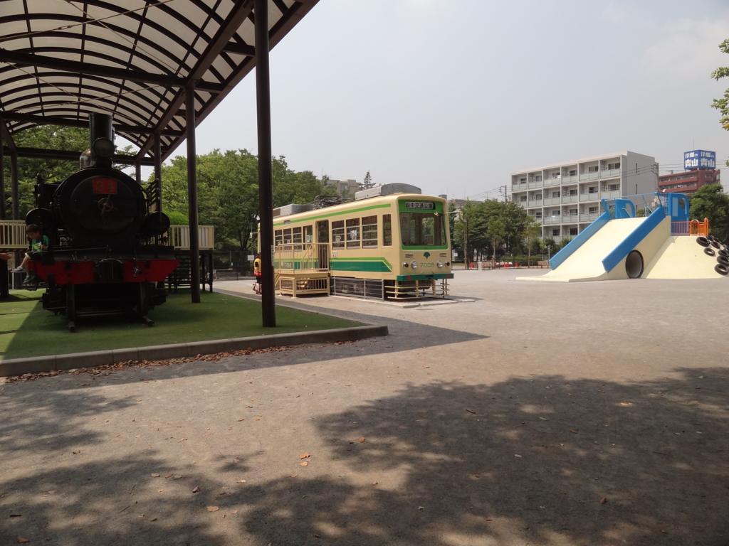 萩中公園は大田区内に5つある交通公園のひとつで野球場、プール、築山広場、健康遊具のあるがらくた公園など広い公園