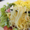 バーミヤン西六郷店(大田区)たっぷり野菜の7品目冷やし中華の具材は錦糸卵きゅうり蒸鶏ハムトマトサニーレタスねぎ