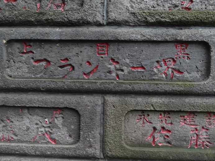 フランキー堺の名が石塀に刻まれる成田山成心寺(大田区中央)