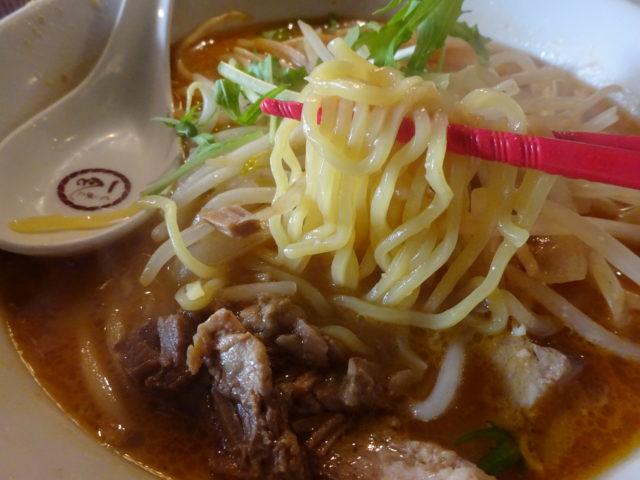 らーめん一会(大田区大森北)は赤味噌、信州味噌、白味噌、九州甘口合わせ味噌など数種類ブレンドした海老茶色味噌味